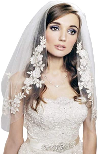 Kukale Bridal Veil With Comb 2 Tier Double Layer Womens Elbow