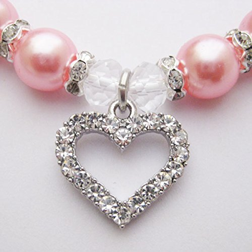 PETFAVORITES Engraved Crystal Heart Dog Necklace Jewelry with Bling Pearls Rhinestones Charm for Pets Cats Small Dogs Girl Teacup Chihuahua Yorkie Clothes Costume Outfits (Pink, Neck Size: 10''-12'')