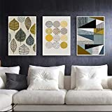 Cindere 7.9 x 11.8inch Oil Painting House Painting Wall Art Lanscape Painting Print on Canvas Wall Decoration Geometric Leaf Canvas 3Pcs