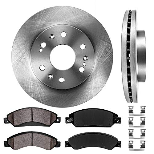 (FRONT 330 mm Premium OE 6 Lug [2] Brake Disc Rotors + [4] Ceramic Brake Pads + Clips )