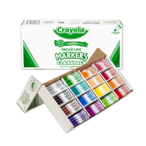 크래욜라 Crayola inc 크래욜라 Crayola Classpack Assortment, 256ct Broad Line Markers, 16 Bold Colors, Great for Classroom, Educati