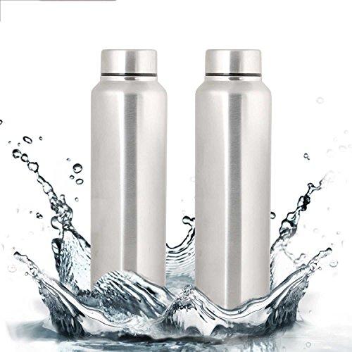 Zafos Chromo S.S Steel 1000ml  Set of 2    Fridge Water Bottle. Leak Proof for Gym, Sports  amp; Office  amp; School