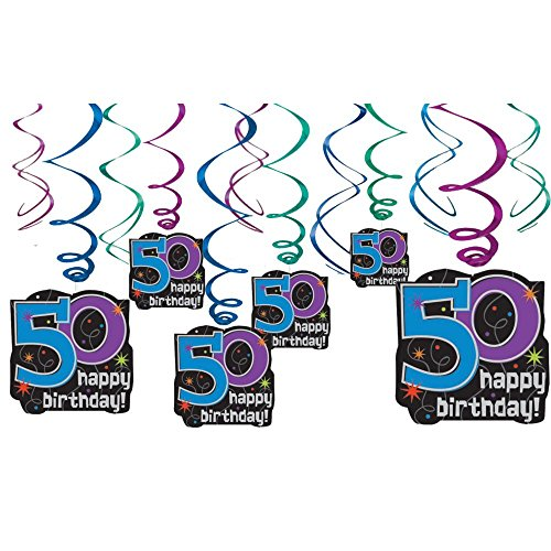 The Party Continues 50th Birthday Party Hanging Swirl Ceiling Decoration, Pack of 12, Multi , 9.5
