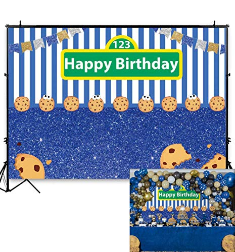 Cookie Monster Party (Allenjoy Cookies Blue White Stripes Backdrop Kids Happy First 1st Birthday Party Decor Gold Silver Flags Carnival Festa Cake Table Banner 7x5ft Photography Background Photo Booth)
