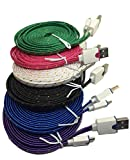 CablesFrLess 10ft Braided High Quality Durable Micro B USB Charging / Data Sync Cable fits Android Phones and Tablets (VALUE PACK OF 6)