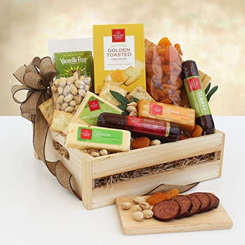 Savory Meat and Cheese Gift Basket   Filled with Sausages Cheese Dried Fruits and Nuts
