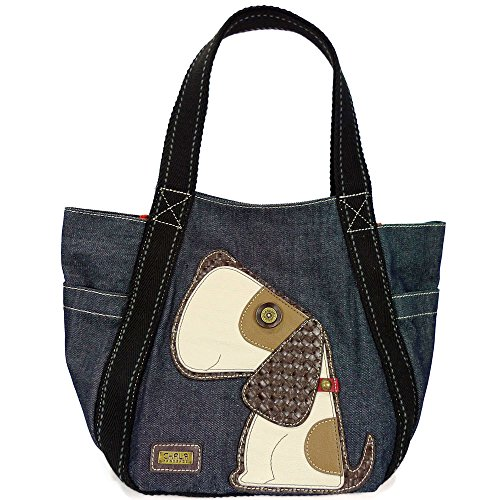 - Chala Canvas CARRYALL Tote Shoulder Handbag with Leather Playful Animal Print (Denim- Toffee Dog)