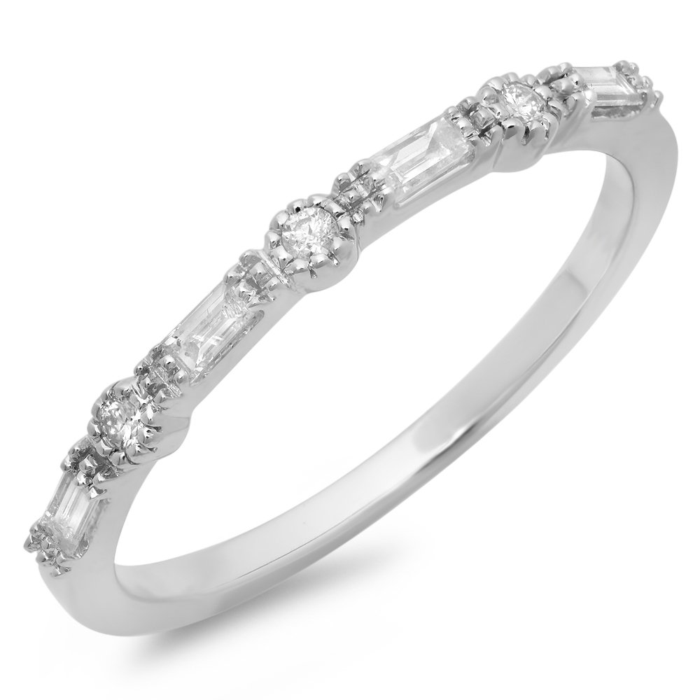0.15 Carat (ctw) 10K White Gold Round & Baguette Diamond Ladies Anniversary Wedding Band (Size 5.5)