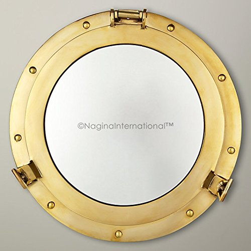 20'' Deluxe Nautical Brass Polished Porthole Mirror | Pirate's Boat Decorative Mirror | Captain's Maritime Beach Home Decor & Gifts | Nagina International by Nagina International