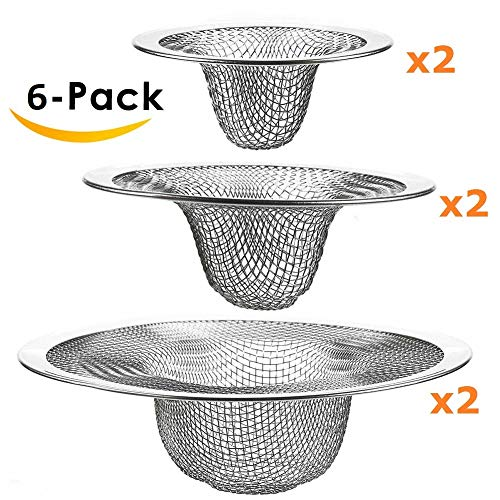 [6 Packs] Heavy Duty Stainless Steel Slop Basket Filter Trap, EXECCZO Mesh Metal Sink Strainer Perfect Fits for Most Kitchen Sink Bathroom Bathtub Wash Basin Floor Drain Balcony Drain Hole