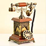 HomJo Creative Bell tower shape Push Button Telephone Vintage Antique Style Resin metal Corded Telephone Home Living Room Decor