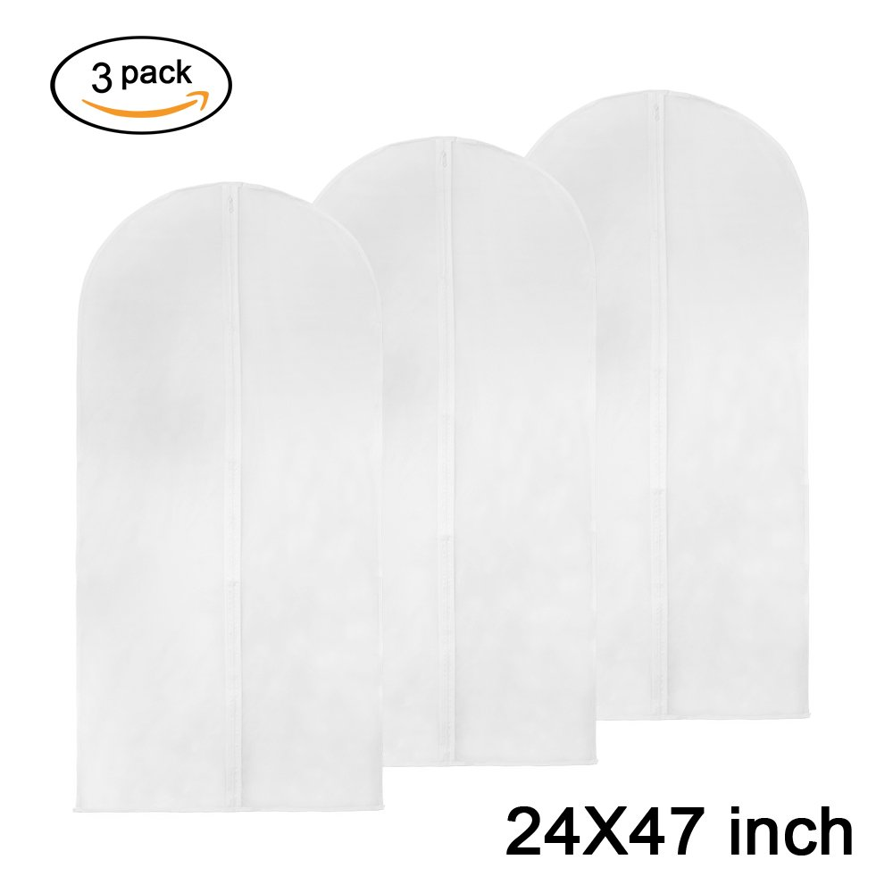 Barwa Garment Bag Clear Suit Bag Moth Proof Garment Bags Full Zipper Breathable White Dust Cover Clothes Closet Travel Storage Washable (3, 40 inch)