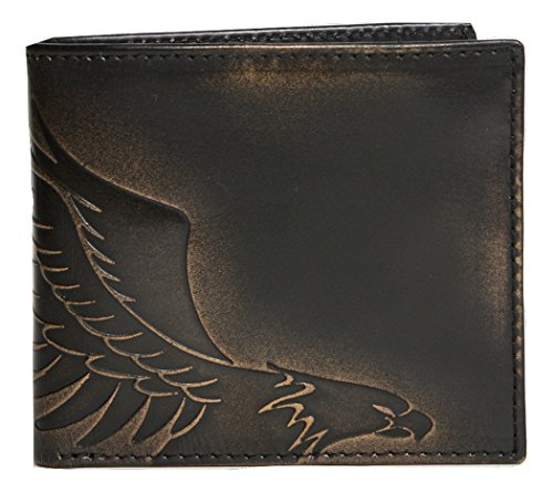 Eagles Embossed Leather (HOJ Co. EAGLE Bifold-Premium Leather-Hand Burnished Finish-Mens Leather)
