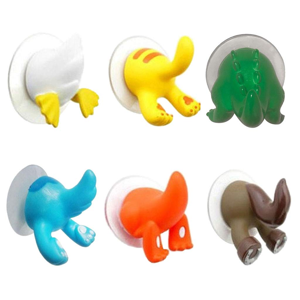 Homyl 3 Unids Gancho de Pared con Ventosa Colgador de Ropas Bolsos Toallas Forma de Cola de Animales para Sala de Estar Baño: Amazon.es: Hogar