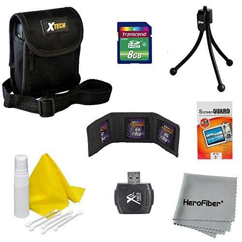 10pc Starter Accessory Kit for Nikon Coolpix L19, L20, L22, L23, L24, L26, L27, L28, L30, L620 Digital Cameras – Includes: 8 GB Memory Card and Card Reader, Protective Digital Camera Carrying Case, Mini Tabletop Tripod, Memory Card Wallet, Lens Cleaning F