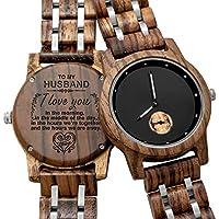[Patrocinado] Reloj de madera personalizado grabado en madera para novio, novio, padre, boda, aniversario de madera para hombre., Estándar hombre