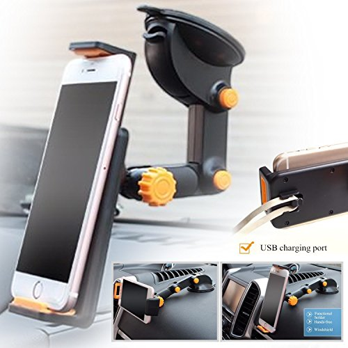 Price comparison product image Asus Zenfone 4 Selfie Car holder Universal 360° Wall Glass Windshield Mount Bracket Stand for Phone iPhone Samsung GPS Tablet
