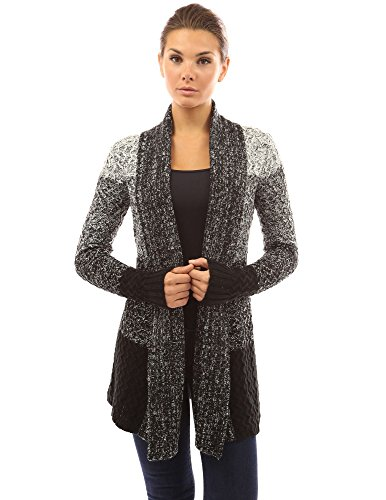 PattyBoutik Women's Gradient Color Marled Cardigan (Black and White - White Black Gradient