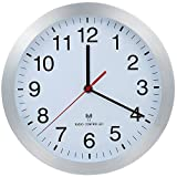 Parateck Aluminum Radio Controlled Wall Clock Kitchen Clock 25cm for Office School Kids Room - Automatic Switching Summer Winter Time