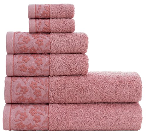 "HYGGE Premium 100% Turkish Cotton Towel Set with Floral Jacquard; 2 Bath Towels (27"" x 56""); 2 Hand Towels (19"" x 32""); 2 Washcloths (12"" x 12"") (Rose Pink)"