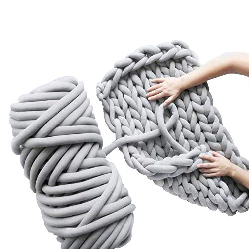 (Chunky Yarn Chunky Merino Wool Yarn Super Soft Washable Super Bulky Giant Wool Yarn for Extreme Arm Knitting DIY Throw Sofa Bed Blanket Pillow Pet Bed and Bed Fence (1kg (2.2lbs), Light Grey))