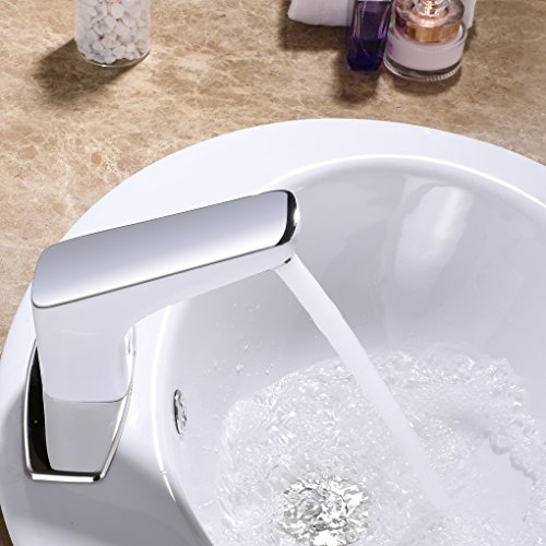 Charmingwater Sensor Touchless Bathroom Faucet, Automatic Faucet Bathroom with Deck Plate, Hands Free Bathroom Water Tap with Control Box and Temperature Mixer, White & Chrome Vanity Faucets