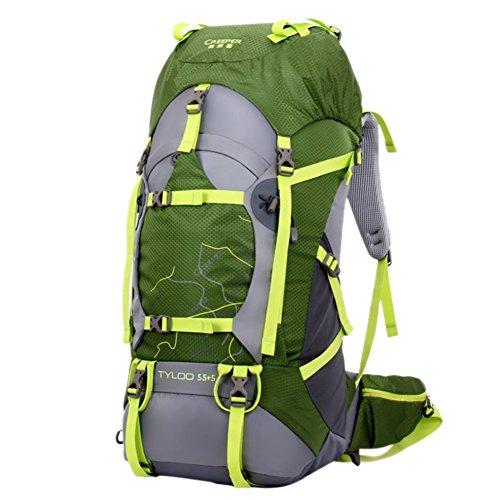 iisport® Trekking Rucksack 55L + 5 Liter Zusatzvolumen Outdoor Camping Rucksack Wasserdichter Grün