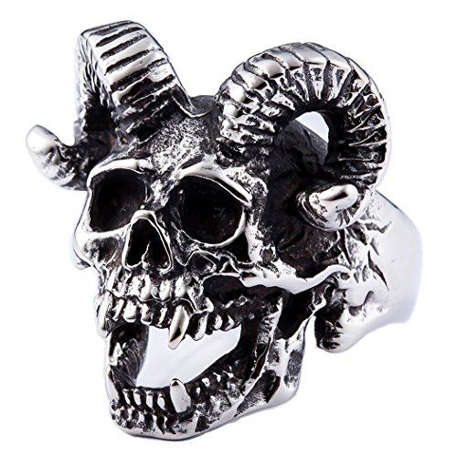 ZMY Mens Fashion Jewelry 316L Stainless Steel Rings For Men Punk Silver Demon Skull Ring -