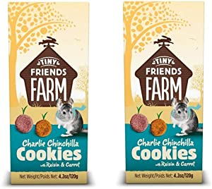 SupremePetfoods Tiny Friends Farm Charlie Chinchilla Cookies with Raisin & Carrot 4.2 oz - Pack of 2