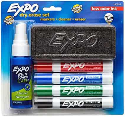 EXPO 80653 Low-Odor Dry Erase Set, Chisel Tip, Assorted Colors, 6-Piece