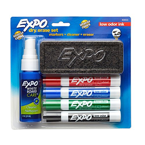 Erase Dry Erase Marker - EXPO 80653  Low-Odor Dry Erase Set, Chisel Tip, Assorted Colors, 6-Piece
