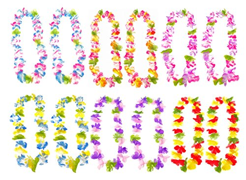 12pcs Hawaiian Hula Leis Dance Garland Artificial Flowers Neck Loop for Luau Party Costumes(12pcs with 6 Different Color Groups)]()