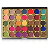 FindinBeauty 35 Colors Pro Eyeshadow Golden Palette,Multi Reflective Shimmer Matte Pressed Glitter - Bright Natural Shades Velvet Texture Blendable Long Lasting Eye Shadow Makeup Pallet with Intense