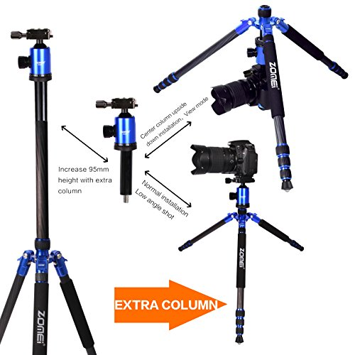 Z888C Travel Carbon Fiber Tripod with Bag by ZOMEI (Blue) by ZOMEI (Image #7)