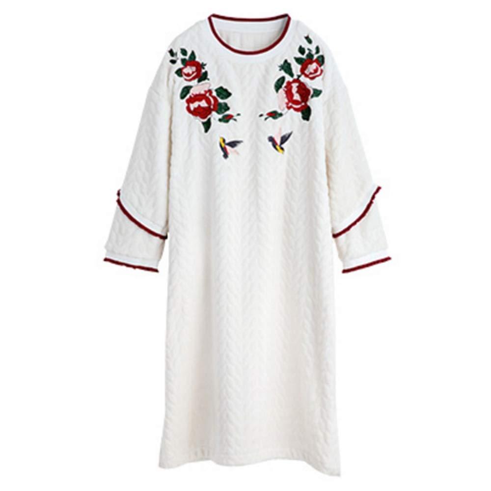 NAN Liang White Sleepwear Women's Winter Sweet Cute Robe 100% Cotton Ultra Soft Bathrobes Long Sleeve Loose Hooded Home Wear (3 Dimension) (Size   M)