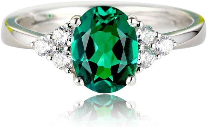 Mackur Mode Anillos Brillantes Verde Piedra Rings Dedos Decoración Accesorios Ajustable Tamaño 1Pieza