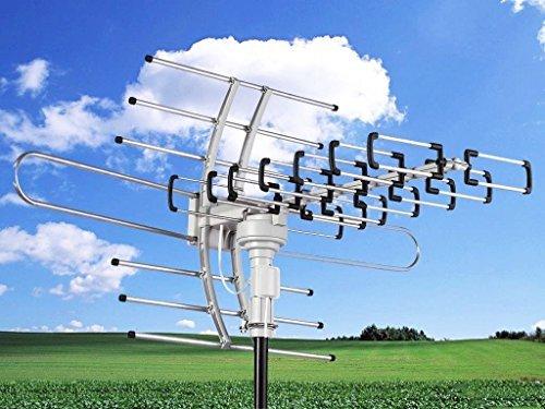 (HDTV 1080P Outdoor Amplified Antenna Digital HD TV 150 Mile 360 Rotor UHF/VHF/FM)