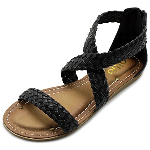 Ollio Women's Shoe Cross Braided Multi Color Flat Sandal M1965 (7.5 B(M) US, Black)