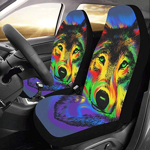 (InterestPrint Front Car Seat Covers 2 pcs Wolf Vehicle Seat Protector Polyester Cloth Fabric Mat Covers Auto Seat Cushion Universal Fit Most Cars Sedan Truck SUV Van for Women Men)