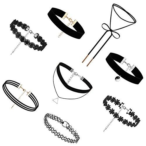 JewelryWe Bijoux Lots de 8 Collier Ras du Cou Femme Étendue Dentelle Velours Alliage Classique Gothique Choker Tatouage Soirée Rendez-Vous