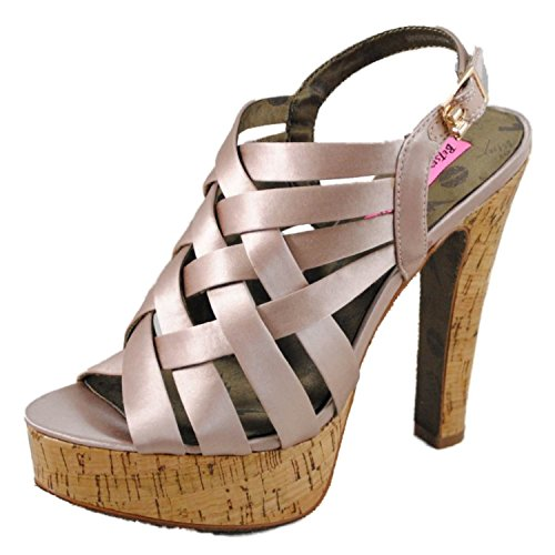 Betsey Johnson Women's Cayger Satin Strappy Platform Heels Pink 8.5 M (Leather Johnson Wedges Betsey)