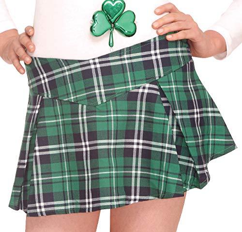 Amscan 344566 Plaid Mini Skirt, One Size, Green -