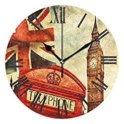 Wamika Wall Clock British Flag English Big Ben Vintage Silent Non Ticking Round Clock, Red Phone Booth England Retro Clocks 10 Inch Battery Operated Quartz Quiet Desk Clock for Home Office School