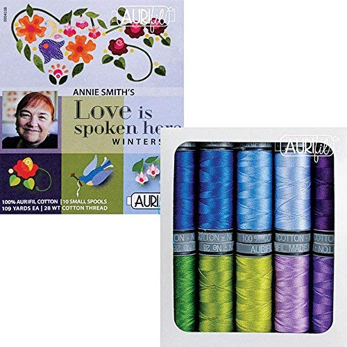 Annie Smith Love Is Spoken Here Winterset Aurifil Thread Kit 10 Small Spools 28 Weight AS28LSHW10, Assorted,  by Aurifil