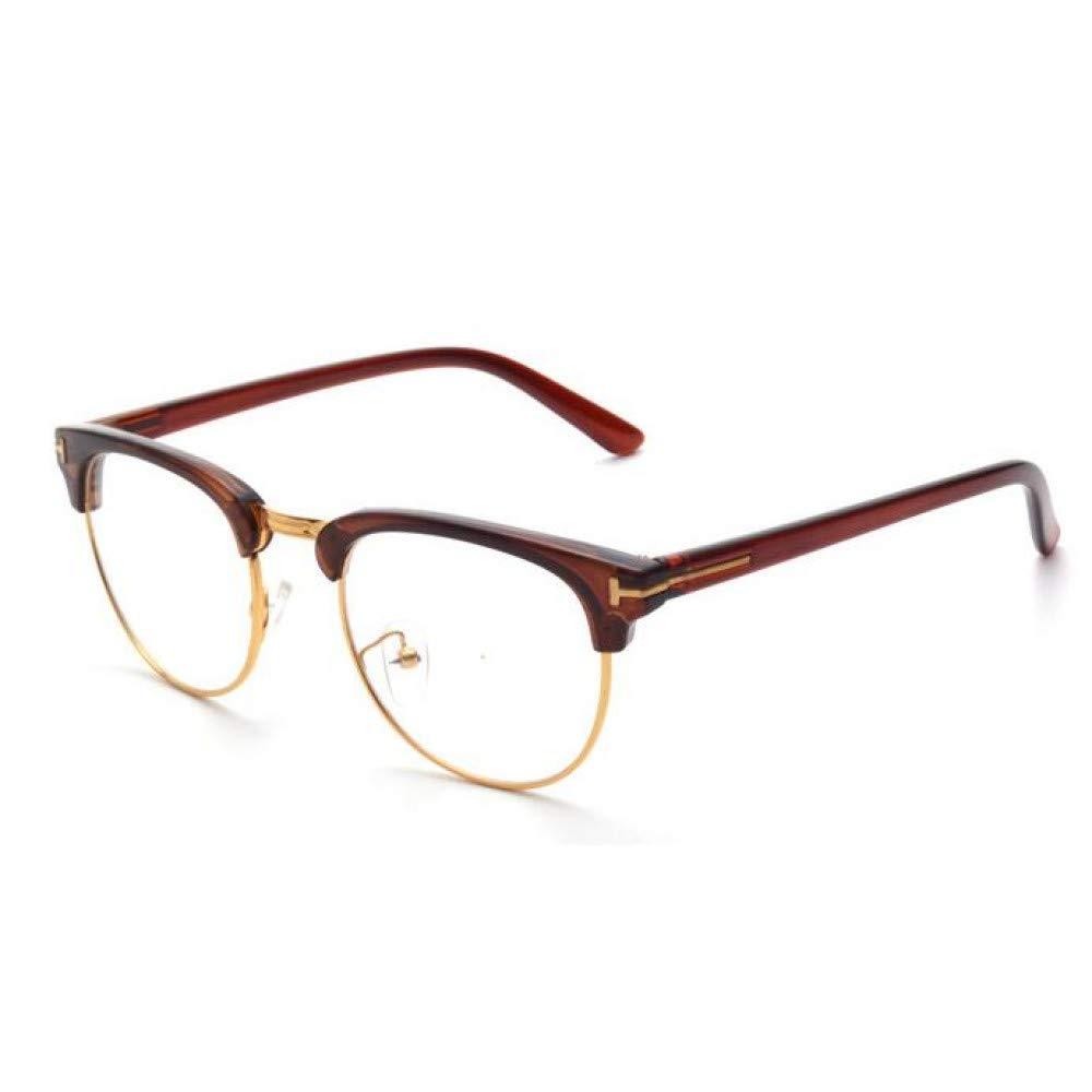 YMTP Designer Gold Semi Randlose M/änner Brillen Retro Schwarz Frauen Brillengestell Klare Linse Vintage Brillen