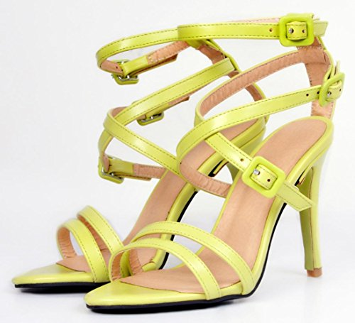 YCMDM Women's Sandals yellow Stiletto Heel Nightclub Party Evening Office Career Fashion Shoes , 39 , light green