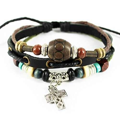 MORE FUN Cross Pendant Bracelet Adjustable Leather Cord Woven Wrap with Classic Oval Wooden Bead