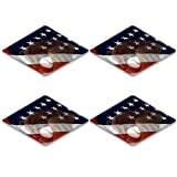 Luxlady Square Coasters IMAGE ID 4910762 Baseball glove and flag double exposed