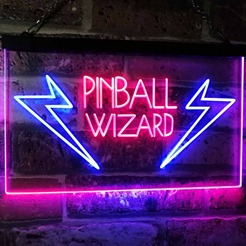 AdvpPro 2C Pinball Wizard Game Room Display Bar Beer Club Dual Color LED Neon Sign Blue & Red 12'' x 8.5'' st6s32-i2797-br by AdvpPro 2C (Image #2)