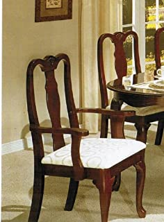 queen anne dining set makeover set of dining arm chairs queen anne cherry finish amazoncom acme piece table